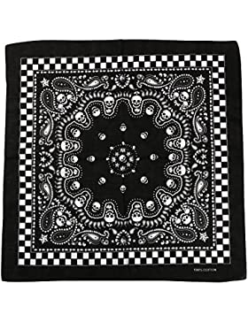 TRIXES Bandana nera con disegno di teschio su due lati e bordi a scacchi, foulard da mettere in testa