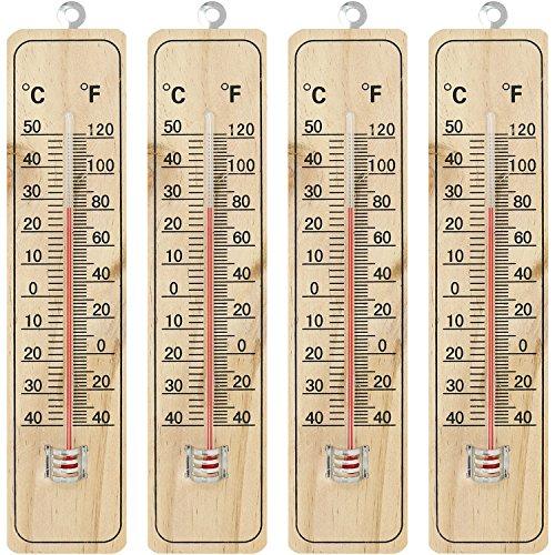 com-four® 4X Holz-Thermometer für Innen und Außen, klassisches Thermometer aus Holz mit Grad Celsius und Grad Fahrenheit Skala, -40° C bis +50° C, -40° F bis +120° F, 21,9 cm