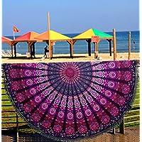 Pañuelo redondo con estampado de cola de pavo real y mandala indio, toalla de playa, tapiz, estilo hippie y bohemio, algodón, mantel, esterilla de yoga redonda, bufanda, 182,9 cm, para la playa, el ocio, un picnic, 100 % algodón, Rose, 180 cms