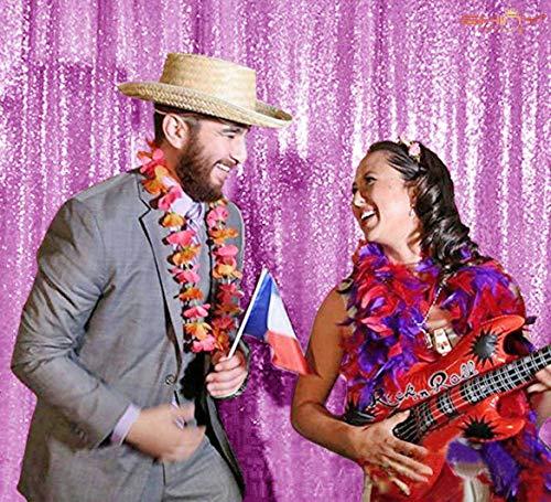 ShinyBeauty Pailletten-Hintergrund 2 Panels-Lavendel Geburtstag Party Hintergrund Bling Hintergrund Küchen Vorhänge Foto Hintergrund Dusch Vorhang Schimmer Pailletten Hintergrund -2FTx8FT D95 - Pink Bling Duschvorhang