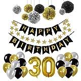 Toupons 30e Kit de décorations de fête d'anniversaire, Or Nombre 30 Ballons, 30pcs Noir Argent et Or Ballon de Latex, 9pcs Pompons de Papier de Soie