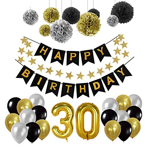 ag Party Dekorationen Kit, Gold Nummer 30 Ballon, 30pcs Schwarz Silber und Gold Latex Ballon, 9pcs Seidenpapier Pom Poms für 30 Jahre alt Party Supplies ()
