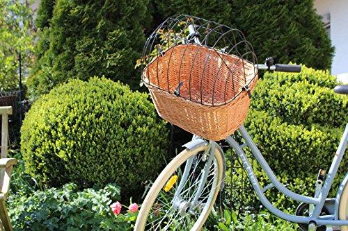 Fahrradkorb 2 in 1 - Eckig Weidenkorb Bastkorb Fahrrad Korb geflochten Hundekorb Hundefahrradkorb Groß (50 x 40 x 47cm)