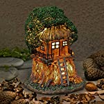 Garden Glows Fairy Dwelling - THE HOME OF NORTH PEPPERGLOW - Fairy Treehouse - for indoor outdoor use - with 3 solar powered LEDs