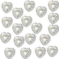 Syntego 80 x Self Adhesive Clear Heart Gems Diamante Acrylic Crystals Approx 1.2cm Card Making Embellishments