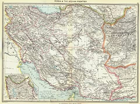 IRAN: Iran and the Afghan Frontier; Inset map of Azerbaijan, 1907