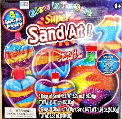 Glow in the Dark Super Sand Art Kit - 6 Sand Art Projects by CK Activity