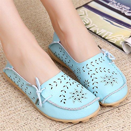 AFFINEST Mocassins Femmes Loisirs Creux-dehors Confort Chaussures Plates Loafers en PU Cuir Chaussures de Conduite bleu ciel