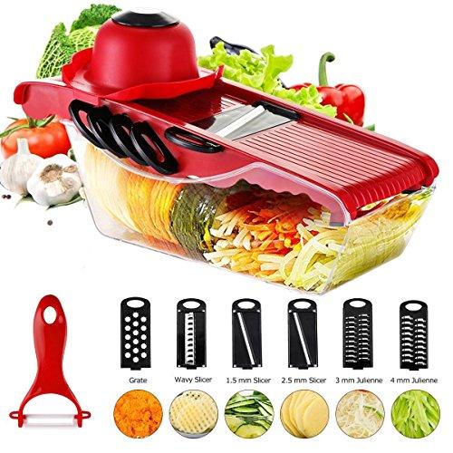 Marnetsone - Mandolinenschneidemaschine Neueste 6 + 1 Gemüseschneider Multifunktions-Lebensmittel-Schneidemaschine Obst und Käse Cutter Slicer