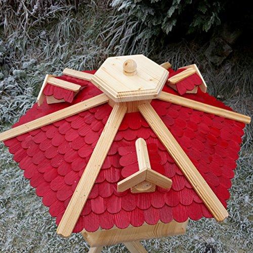 Sehr großes Vogelhaus Vogelhäuser Vogelfutterhaus Vogelhäuschen aus Holz Schreinerarbeit Gaube Rot XXL - 2