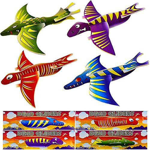 Preisvergleich Produktbild German Trendseller® - 4 x Dino Flug - Gleiter  Flugsaurier  Jurassic Crazy Dinosaurier  Kindergeburtstag