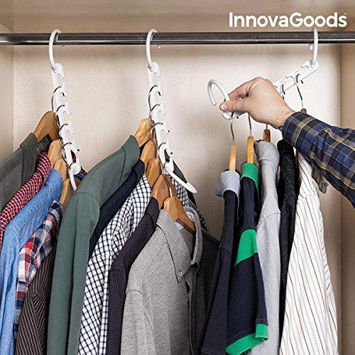 InnovaGoods Organizador de Perchas para 40 Prendas, ABS, Blanco, 23x5x8 cm