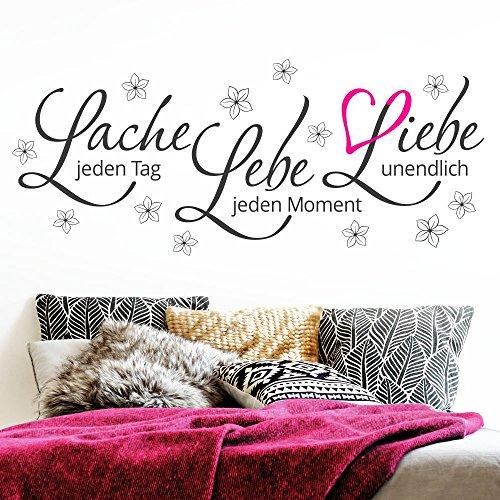 Grandora Wandtattoo Zitat Lebe Lache Liebe + Blumen & Herz pink I dunkelgrau (BxH) 110 x 46 cm I Wohnzimmer Sticker Aufkleber Wandaufkleber Wandsticker W5122