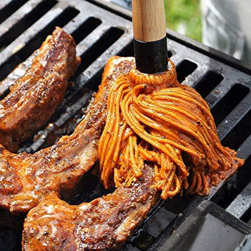 RENNICOCO BBQ Basting Mops zum Braten oder Grillen, Barbeque Sauce, Marinade oder Glasur, Cotton Fibre Head und Naturholzgriff, Dish Mop Style, perfekt zum Kochen oder Reinigen Dish Mop