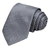 GASSANI Krawatte 8cm Breit Anthrazit-Grau|Karo kariert Herrenkrawatte | Schlips Binder zum Anzug Sakko Seide-Optik