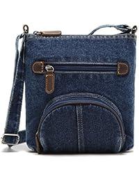 Generic Women Retro Messenger Bags Dark Blue Denim Solid Shoulder Bag-Parent