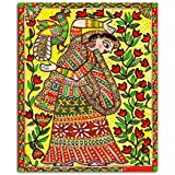 Tamatina Madhubani Canvas Paintings - Krishna Radha - Radha Krishna Paintings - Traditional Art Paintings - Paintings For Home Décor - Paintings For Bedroom - Paintings For Living Room - Religious Canvas Paintings - Madhubani Paintings For Wall