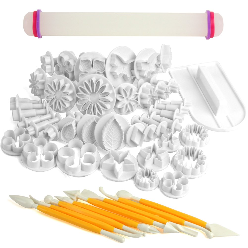 Cake Decorating Questions : HS Cake Decorating Tools Fondant Icing Cutters Sugarcraft Tools Kit Plunge 50pcs eBay