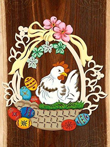 Fensterbild Ostern Frühling - Glucke - beidseitig coloriert - Holz ca. 23cm