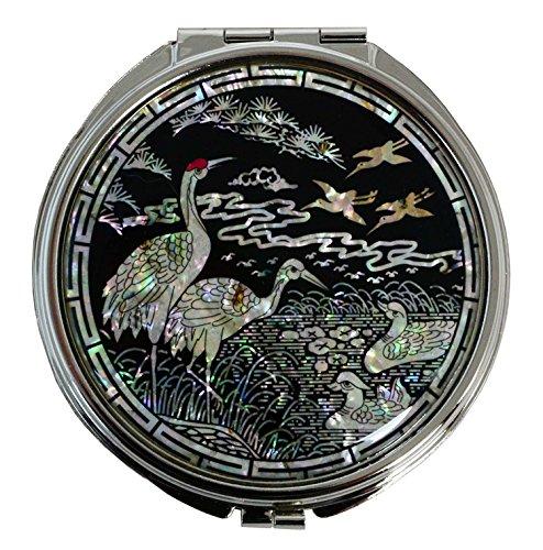 Miroir compact pour dames, élégantes décorations asiatiques en nacre naturelle. Artisanat de luxe coréen.