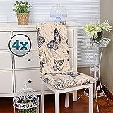 Fundas para sillas pack de 4 fundas sillas comedor fundas elásticas, cubiertas para sillas,bielástico Extraíble funda, muy fácil de limpiar, duradera- Vistoso (Paquete de 4, Mariposa)