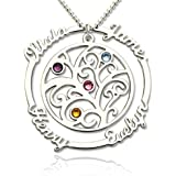 Collana personalizzata personalizzata con albero genealogico per la festa della mamma - Incisa con 4 nomi e 4 pietre tombali