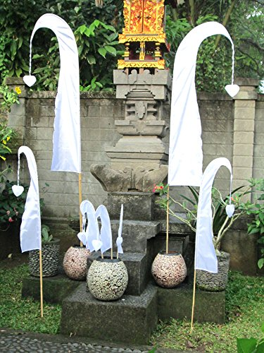 Asiastyle Bali-Fahne, Weiss, 200cm inkl. Stock