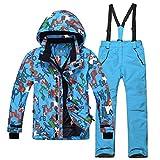 emansmoer Kinder Skianzug Winddicht Wasserdicht Funktions Outdoor Wintersport Ski Schnee Snowboard Jacke Hosen (134/140, (Blau + Blau)/8012)