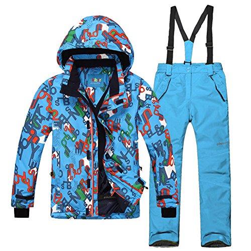emansmoer Kinder Skianzug Winddicht Wasserdicht Funktions Outdoor Wintersport Ski Schnee Snowboard Jacke Hosen (116/122, (Blau + Blau)/8012)   00610446534900