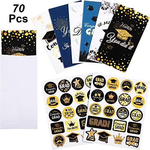 Blulu 20 Stücke Abschluss Geld Halter Karten mit 20 Umschlag 30 Stücke Abschluss Aufkleber Geld Karten 6 Designs für Oberschule Hochschule Abschluss Partei Gefälligkeiten