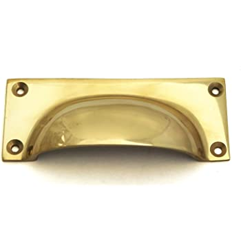 Architectural & Garden 6 Small Shell Shape Pulls Handles Old Solid Brass Vintage Polished Drawer 82 Mm