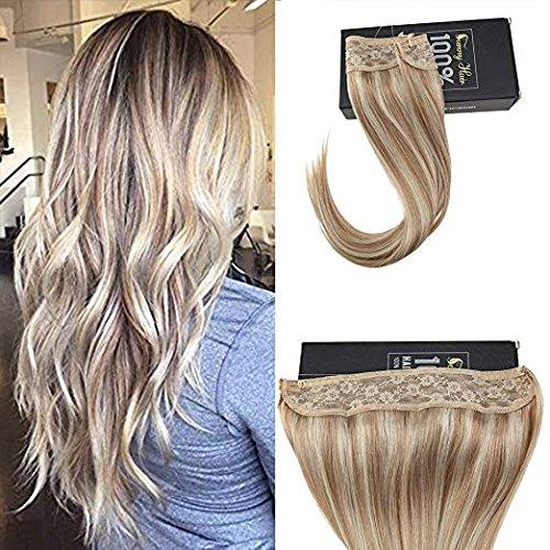 Sunny highlight blond estensioni filo weft 14 pollici dritto remy wire extension capelli veri con filo no clip no glue 80g/set