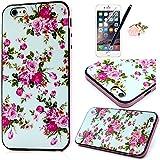 ZSTVIVA 4en1 PC y TPU Funda para iPhone 6 Plus 5.5 pulgadas Case Carcasa Cubierta Caso + Enchufe anti del polvo & Protectores de Pantalla & Stylus PEN - Flores Rose Patrón (Blanca)