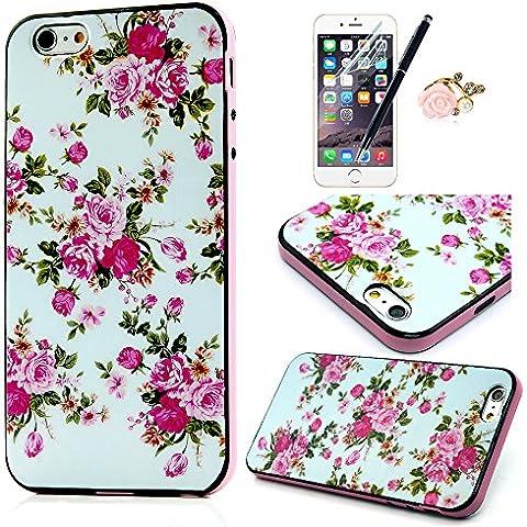 ZSTVIVA 4en1 PC y TPU Funda para iPhone 6 Plus 5.5 pulgadas Case Carcasa Cubierta Caso + Enchufe anti del polvo & Protectores de Pantalla & Stylus PEN - Flores Rose Patrón