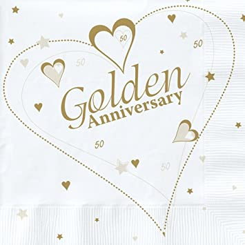 18 x Luxury Golden 50th Wedding Anniversary Party Napkins: Amazon ...