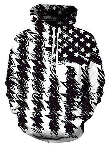 3d Flag (Spreadhoodie USA Hoodies für Herren Damen Funky America Flag HD Gedruckt Pullover Mit Kapuze Leichte Sweatshirt für Casual Holiday Schwarz L)