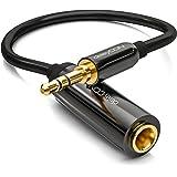 deleyCON 0,2m Stereo Audio Jack-Adapterkabel - 3,5mm Jack-Stekker naar 6,3mm Jack-Bus - Vergulde Jack-Stekker en Bus - Zwart