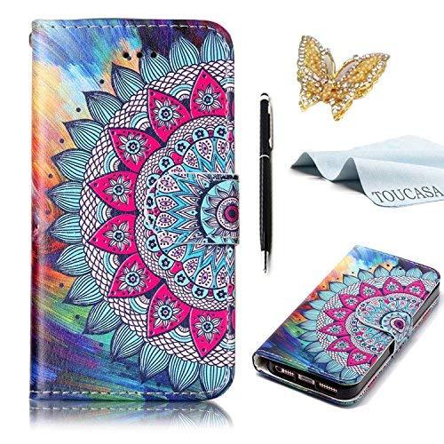 S8 Handyhülle,S8 Hülle,TOUCASA Geprägtes Buntes Tier und Blume Premium PU Leder Flip Wallet Schutzhülle Stoßfest Bumper mit Kartenhalter Klappständer Magnetic Case Hülle für Samsung S8-Mandala Blume