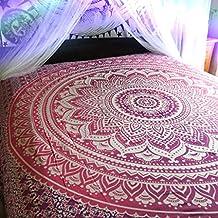 Tapiz para colgar en la pared, estilo indio bohemio hippie, diseño de mandala, tamaño doble grande, color rosa y morado