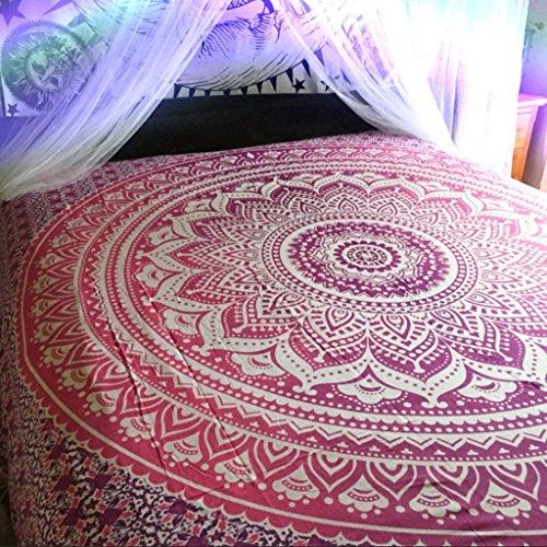 Arazzo da parete indiano, tappezzeria decorativa da muro, stile indiano hippy, boemo, colore viola e rosa, doppia dimensione (l)