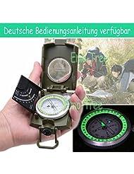 EMOTREE Militär Marschkompass Reisen Outdoor Kompass Bundeswehr Taschenkompass mit Lupe