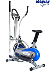 LEEWAY National Bodyline Orbitrek Hand Pulse Exercise Cycle with Seat and Stand (Silver and Blue)