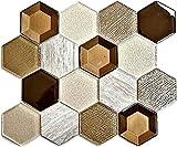 Mosaik Fliese Transluzent beige Hexagon Glasmosaik Crystal Stein 3D beige für BODEN WAND BAD WC DUSCHE KÜCHE FLIESENSPIEGEL THEKENVERKLEIDUNG BADEWANNENVERKLEIDUNG Mosaikmatte Mosaikplatte