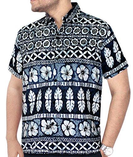 LA LEELA Strand Hawaiihemd Herren XS - 5XL Kurzarm Front-Tasche Hawaii-Print Casual Button Down Hemd Grau Grau