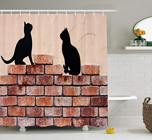 Cat Shower Curtain by, Black Kittens on Red Brick Wall City Animals Urban Silhouettes Grunge Town Artistic Print, Fabric Bathroom Decor Set with Hooks, 72x72 inches, Peach (Halloween Silhouette Town)