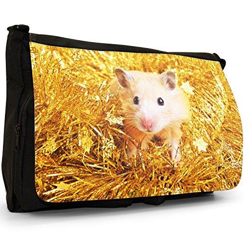 Criceto–Borsa Tracolla Tela Nera Grande Scuola/Borsa Per Laptop Cute Hamster In Tinsel