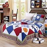 Unimall gesteppt Bett Überwurf Tagesdecke Kinderzimmer Junge 180x220 cm + 1x Kissenbezug 50 x 70 cm Sport Muster Shbby chic