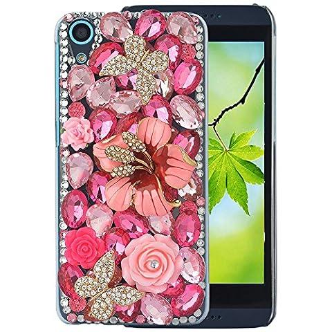 spritech (TM) Téléphone Bling Transparent pour HTC Desire 626,3d fait main cristal papillon fleur accessary Housse Téléphone Portable Design