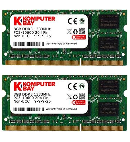 Komputerbay 16GB (2X8GB) PC3-10600 PC3-10666 1333MHz SODIMM 204-Pin Laptop Speicher 9-9-9-24 nur für PC - nicht MAC -
