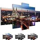 Bilder 200 x 100 cm - Köln Bild - Vlies Leinwand - Kunstdrucke -Wandbild - XXL Format – mehrere Farben und Größen im Shop - Fertig Aufgespannt !!! 100% MADE IN GERMANY !!! - Stadt – City – Nacht 601551a